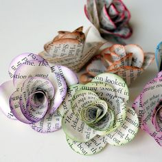 6 Handmade Paper ROSES from REPURPOSED BOOK Pages via Etsy