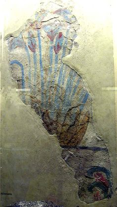ca. 1353-1336 BCE. Egyptian Painted Blue Lotuses on Plaster Pavement.  el-Amama Period reign of Akhenaten.  excavated 1921-22.