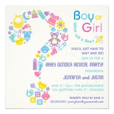 Question Mark Gender Reveal Party Invitation Cute and colorful baby icons create this Question Mark. Great for Gender Reveal Party or Gender Neutral Baby shower. Original Illustration by pj_design / jammydesign. Gender Reveal Party Invitations, Custom Baby Shower Invitations, Baby Shower Invitation Cards, Gender Reveal Gifts, Gender Neutral Baby Shower, Question Mark, Reveal Parties, This Or That Questions, Pj