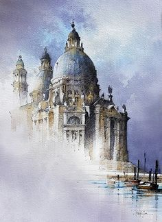 """Thomas W Schaller. Pencil and Watercolor Sketch. inches - 03 May """"Venice hovers in a limbo between creation and decay"""" Thomas Mann Watercolor Flowers Tutorial, Art Watercolor, Watercolor Painting Techniques, Watercolor Landscape Paintings, Abstract Landscape, Watercolor Architecture, Architecture Drawings, Venice Painting, Art Thomas"""
