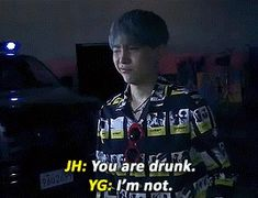 """""""I am not drunk"""" """"Yes you are"""" """"I am not FUCKING drunk"""" """"Can you tell the time?"""" *points at clock* """"I aM nOt FuCkInG dRuNk""""<<😂😂 i see you Seokjin, Kim Namjoon, Kim Taehyung, Jimin, Bts Bangtan Boy, Jung Hoseok, Kpop, Bts Love, Min Yoonji"""
