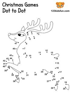 Christmas Dot to Dot Printables - Rudolph In our free Christmas Printable, you will find coloring pages, christmas cards, paper ball ornaments, christmas games and gift tags. Diy Christmas Activities, Christmas Worksheets, Free Christmas Printables, Christmas Crafts For Kids, Christmas Colors, Christmas Art, Christmas Games, Xmas, Kids Christmas Coloring Pages