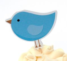 Bird Party - Set of 12 Blue Birdie Cupcake Toppers by The Birthday House Bird Party, Custom Cupcakes, Bird Theme, Party Themes, Party Ideas, Cupcake Toppers, Blue Bird, First Birthdays, Card Stock