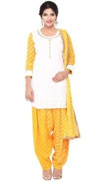 Yellow Color Chanderi Silk,Cotton Readymade Casual Patiyala Suits with Dupatta… #Heenastyle #Punjabisuit #Salwarsuit, #SalwarKameez, #Dreses, #Patiyala
