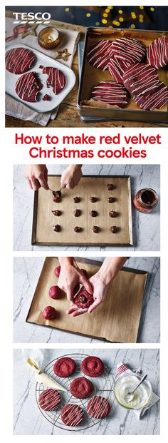 Bake the ultimate Christmas biscuit with this step-by-step recipe for melt-in-the-middle red velvet cookies. These chewy treats are stuffed with oozing chocolate hazelnut spread and drizzled with white chocolate for a festive finish. Christmas Snacks, Xmas Food, Christmas Cooking, Christmas Baking Gifts, Handmade Christmas Gifts, Xmas Gifts, Diy Christmas, Holiday Crafts, Melting Chocolate