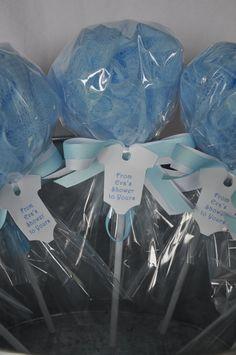 Bebé ducha Favor baño Puff Lollipop con etiqueta azul y
