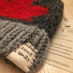Cowichan style knitting wool hat toque Canada leaf maple leaf red grey