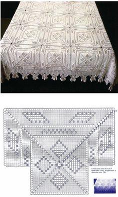 Crochet Bedspread Pattern, Crochet Quilt, Crochet Blocks, Crochet Tablecloth, Crochet Squares, Crochet Home, Thread Crochet, Crochet Afghans, Crochet Pillow