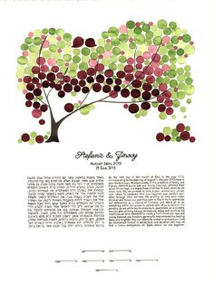 Watercolor Ketubah Calligraphy - GREEN PURPLE CHUPPAH - Tree of Life Custom painted Ketubah