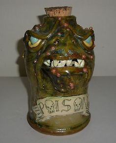 Handmade Clay Dragon Head Poison Jug Bottle Artist Judhe Jensen Topeka Kansas