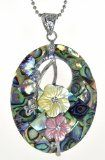 Genuine Rainbow Abalone Mother of Pearl Yellow Flower Oval Shape Pendant Necklace -