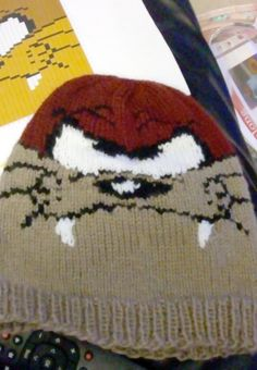 Free Knitting Pattern for Tasmanian Devil Hat - Beanie with colorwork of favorite cartoon character. Designed by Knitty Emma