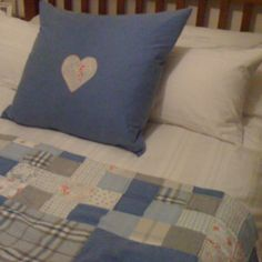 Patchwork quilt and heart cushion
