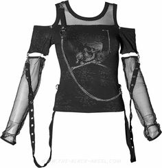 Gothic girls top with detached mesh sleeves, bondage straps and skull print.