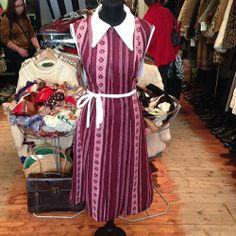Original 70s dress with stunning statement collar £18 size 12-14 (tie back waist) #vintageguru #vintageguruscotland #vintage #retro #westend #byresroad #1970s #70s #seventiesdress #70scollar #sweet #preppy #style #tumblr #twitter #glasgowstyle #nostalgia