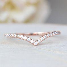 Elegant Rose Gold Brass Thin Cubic Zirconia V Chevron Ring - April Birthstone Gemstone Wedding Jewelry Gift for Bridal or Bridemaid