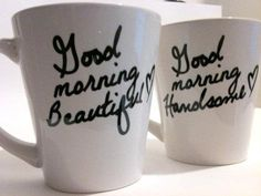 Couple mugs. Very cute text printed on them!