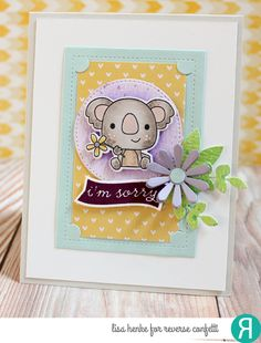 Card by Lisa Henke. Reverse Confetti stamp sets: Bitty Banners and Bear Hugs. Confetti Cuts: Bitty Banners, Bear Hugs, Flowers for Mom and Insta-frame.