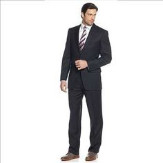 Tasso Elba Suit Navy Herringbone – Size: 48 R x 42W – Retail: $595. | Property Room