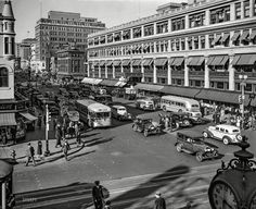 """Washington DC Shopping District October """"Capital Transit buses, F and streets NW. Old Pictures, Old Photos, Vintage Photographs, Vintage Photos, Shorpy Historical Photos, Colorized Photos, Photo Archive, Small Towns, Washington Dc"""