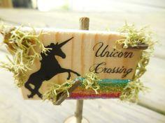 Magical Unicorn Crossing Fairy Garden Sign by FairyGardenMiniature