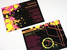Paint splatter invitations