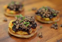 Haggis, neeps and wee tattie scone canapés with red onion marmalade