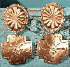 Navajo cross silver earrings. Sigh.