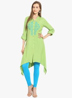 Fashion eva Green Embroidered Kurti #Parrot Green # Cotton # Roll Up Sleeve # Mandarin # Asymmetric