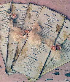 ❥ Wedding Menus Wedding Menu Lace shabby country chic