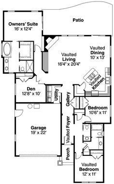 Open Floor Plan of Traditional   House Plan 69623