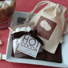 The Favors Boutique | Fall Theme Hot Cocoa Muslin Bag