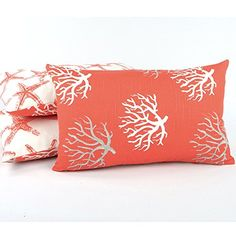 Starfish Makeover - 14x14 inches Square Decorative Throw Pillow Cover White Linen Pillow Cover with Bead Embroidery