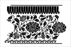 Peony Border stencil from The Stencil Library CHINOISERIE range. Buy stencils online. Stencil code CH62.