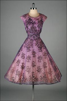 1950's dress This is stunning! The floral black over the Gorgeous purple chiffon is HOT! LOVE this..K♥♥♥♥