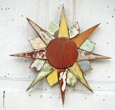 Mosaic Sun Reclaimed Wood Art by woodenaht on Etsy, $44.00