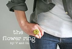 V and Co.: tutorial: fabric flower ring
