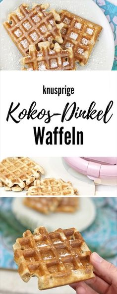 Coconut spelled waffles for breakfast? Yes, please - Histamin - waffeln Breakfast Dessert, Low Carb Breakfast, Vegan Breakfast Recipes, Paleo Dessert, Dessert Recipes, Waffle Recipes, Baby Food Recipes, Sweet Recipes, Baking Recipes