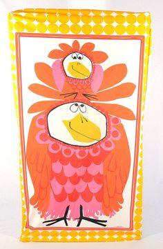 Vintage 60s Scuda Funky Chicken Sheet Set 1960s Bob Van Allen Twin Fitted + Flat + Pillowcases Wamsutta Mid Century Bird Kitsch Home Decor