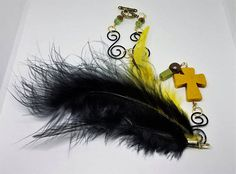 Yellow Cross rearview mirror accessory Feather accessory