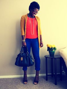 Electric Blue pants + neon orange tank + mustard yellow cardi.