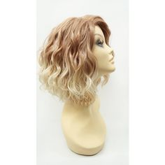 12 Inch Lace Front Light Strawberry Pale Blonde Ends Short Wavy Lob... ($70) ❤ liked on Polyvore featuring beauty products, haircare, hair styling tools, bath & beauty, grey, hair care and wigs