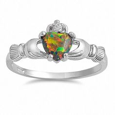 Synthetic Black Opal   Sterling Silver 0.765ct Heart cut Synthetic Black Opal Promise ...