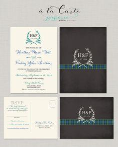 Scottish Tartan Chalkboard  Wedding Invitation Set - Scottish Wedding - Invitation and RSVP
