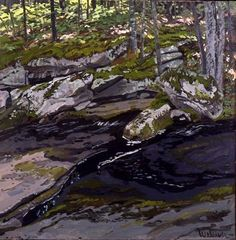 Neil Welliver Study for Ledge on Black Brook, 1987 oil on canvas 24 x 24 inches http://alexandregallery.com/img/uploads/big_nw193ledge.jpg