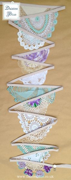 Colourful Doily Bunting Hanging Freesia by DaisiesBlueShop on Etsy