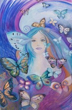 Eden Art is Ines Honfi's Homepage where she shares all her new Art pieces and sells both her originals which are oil on canvas and affordable prints on canvas Illustrations, Photo Illustration, Oil On Canvas, Canvas Prints, Art Academy, Visionary Art, Fantasy World, Fantasy Art, Blue Butterfly