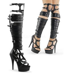 Pleaser DELIGHT-600-50 Black Faux Leather Gladiator Boots