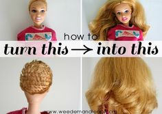 how-to-fix-ruined-barbie-hair. Wish I had this when i was little. I LOVED to give Barbie haircuts :)