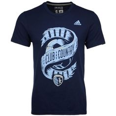 adidas Men's Sporting Kansas City Club & Country T-Shirt ($28) ❤ liked on Polyvore featuring men's fashion, men's clothing, men's shirts, men's t-shirts, navy, adidas mens t shirt, mens sports shirts, mens navy shirt, mens sports t shirts and mens sport shirts